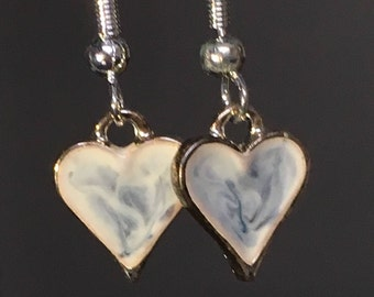 Handmade enamel heart earrings