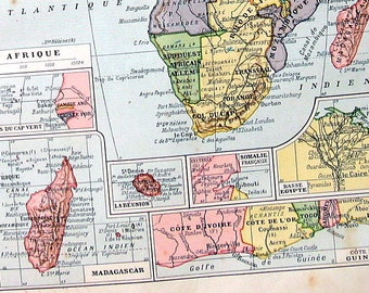 Africa Map - Antique Map 1908 - 12 x 8 - French Larousse Book Page