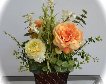 Orange Blossom & Sunshine, Orange Roses, Yellow Ranunculus, Silk Flower Arrangement, Cheery Flowers, Get Well Flowers, Faux Flower