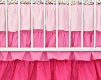 Light Pink Gradient Ombre Ruffle Crib Skirt | Pink, Ombre, Ruffled, Bright Baby Girl Crib Skirt | Pink Baby Girl Crib Bedding Set