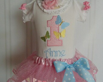 Birthday Outfit- Summer Butterfly Outfit- Cute Embroidered and Personalized Bodysuit/T-Shirt/Tutu and Headband
