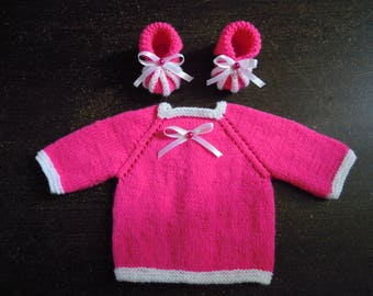 jacket and booties for newborn girl