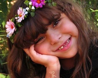 Baby Floral Crown - Baby Photo Prop Headbands, Flower Crowns Baby, Baby Girl Crowns, Flower Boho Crown, Boho Flower Crown, Baby Girl Crown