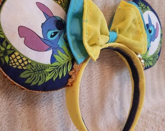 Stitch Pinapple Mickey/Minnie style ears headband