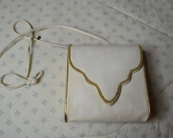 A Vintage White Suede Purse with Gold Trim by Rene Caovilla of Italy