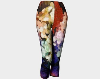 Leggings Capri Pants Summer Pants Workout Leggings Floral Art Printed Leggings Capris Feminine Clothes Colorful Leggings Flower Legging Gift