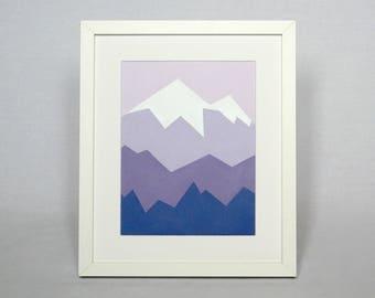 "Alpenglow mountain painting Acrylic on paper 9x7""  Original mountain landscape wall art Mount Rainier painting Clearance sale Mountain decor"