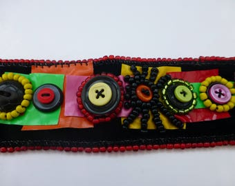 RETRO CUFF , vintage buttons, black velvet, beaded, red, yellow, orange cuff. UK seller