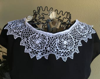 Irish Lace Collar, Hand Crocheted from 1920's