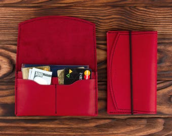 Red Leather Passport Holder – Multiple Passport Travel Organizer - Wallet Cover Case
