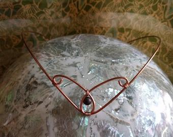 Elven Crown - Copper Tiara - Red Tigers Eye Circlet