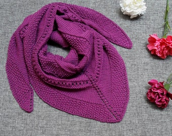 Handknitted purple cotton shawl, unique, ready to ship