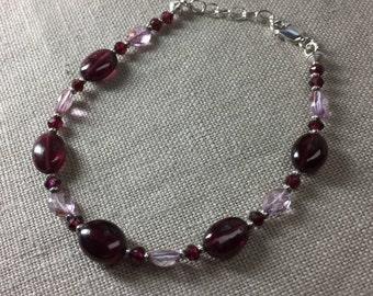 Rhodolite Garnet and Mystic Pink Topaz Bracelet in Sterling Silver