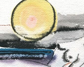 Nu. Aquarelle et encre de chine sur papier Velin d'Arches grain torchon, collage