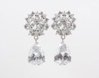 KATIE - Wedding Earrings, Bridal Earrings, Vintage Wedding, Tear drop Earrings, Crystal Pearl Earrings, Bridal Jewelry, Cubic Zirconia CZ