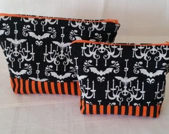 Halloween Damask Makeup / Cosmetic Bag 2 pc. Set : Orange, Black, Bats, Chandeliers, Stripes