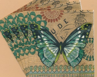PN060 ~ Set of 4 Paper Napkins ~ by Cypress Home ~ 5x5 Burlap Butterfly English