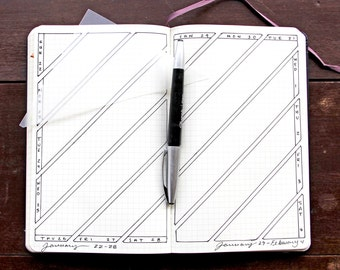 Diagonal Triangle Weekly Layout Bullet Journal Stencil for Leuchtturm Moleskine A5 Planner