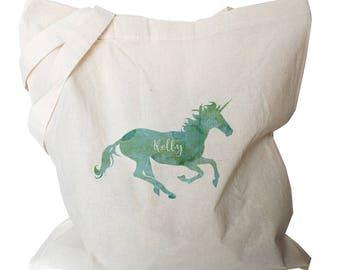 Personalised Tote Bag - Unicorn Bag - Canvas Tote Bags - Unicorn Totes - Cute Personalized Totes
