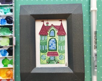 Teeny tiny little house watercolor kids room painting