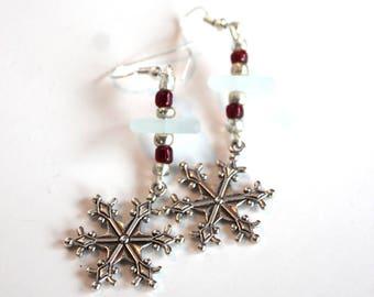 Sea Glass Snowflake Earrings Red Winter Snow Jewelry