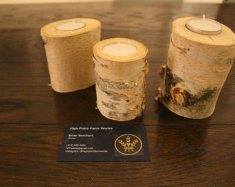 Natural birch branch candleholders