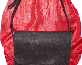 Sew chocolate felted satchel
