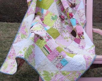 Modern Quilt  Pink and Lime Green Floral Girl's Throw Quilt Mothers Day, valentine's gift, teen girl