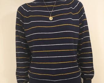 Vintage navy striped sweater with mock neck
