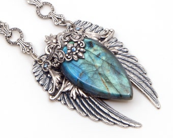Blue Labradorite Necklace, Labradorite Pendant, Angel Wings Necklace, Gemstone Jewelry, Handmade Gift for Wife, Girlfriend, Mom, Mothers Day