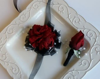 Wrist Corsage Red Wrist Corsage with Matching Boutonniere Wedding Prom Homecoming