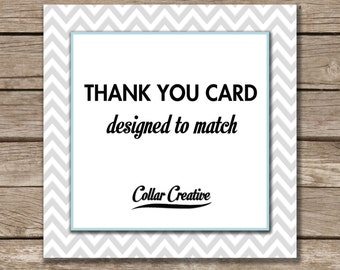 Thank You Card - ADD ON - Made to Match - Customized thank you card. Digital File