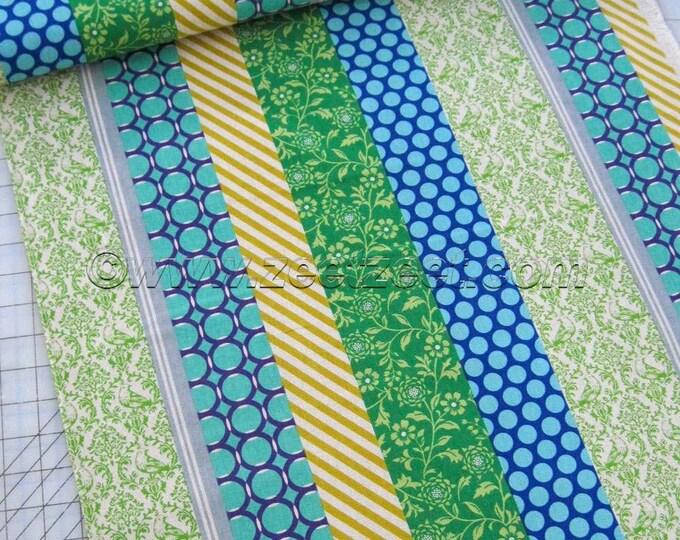 PIPI STRIPE Blue Lime Green Turquoise Purple Echino Decoro Japanese Fabric Import - Lightweight Canvas Japan Jg-96000-901B by Etsuko Furuya