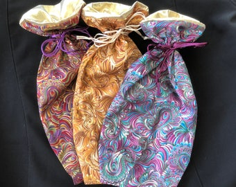 """Sampler Set #7 - 3 Medium (Wine) Gift Bags - """"Paisley"""" - Limited Edition Fabric - Fully Lined with Gold Lamé (Set7Paisleyx3-LR10)"""