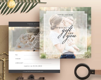 Photography Gift Certificate Template, Gift Card Design, Photo Marketing Template for Photographers, INSTANT DOWNLOAD - GC002