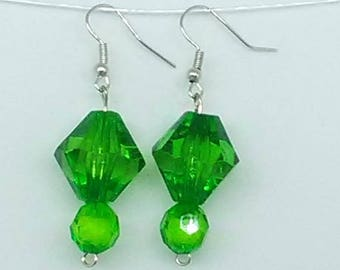 Green Bicone and Faceted Round Beaded Earrings