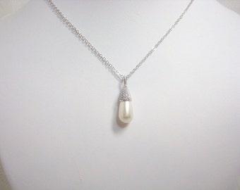 Pearl Wedding necklace, CZ Bridal necklace, Bridal jewelry, Cubic zirconia necklace, Bridesmaid necklace, Pearl drop necklace, Flower girl
