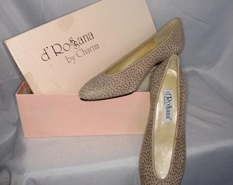 Low Heels Pumps/Size 5.5 Pumps/Beige Suede Pumps/D'Rossana Leather Shoe/BN With Box Shoes/Italian Leather Pumps/ Item Nr.135