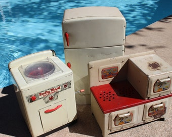 vintage Pretty Maid metal toy kitchen appliances stove oven refrigerator and dish washer