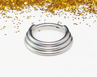 Titanium Hinged Stacked Ring for Septum and Daith Piercings