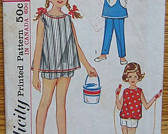 Vintage 60's Children's, Girl's Top and Boxer Pants, Shorts, Simplicity 5478 Sewing Pattern Size 6