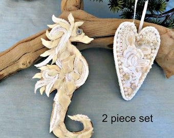 Seashell seahorse & heart ornament set_Seahorse love ornaments_beach decor_mothers day gift