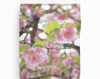 Cherry Blossom, Duvet Cover, Girls Bedroom Decor, Teen Girl Room Decor, Girls Bedding, Cherry Blossom Tree, Queen Duvet Cover, Twin Duvet