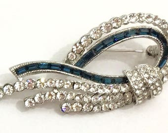 Blue and Clear Crystal Brooch
