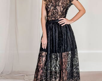 2 piece lace evening outfit, black lace top, black lace skirt, lace prom dress, lace bridesmaid dress