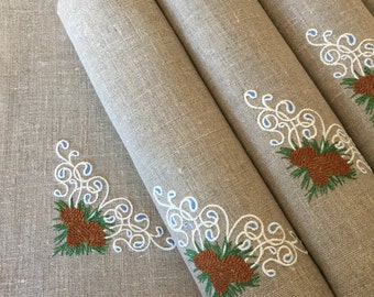 Linen Placemats Set of 6 Embroidered Placemats Christmas Gift Table Decor Fabric Placemats Flax Natural Gray Pine Cones
