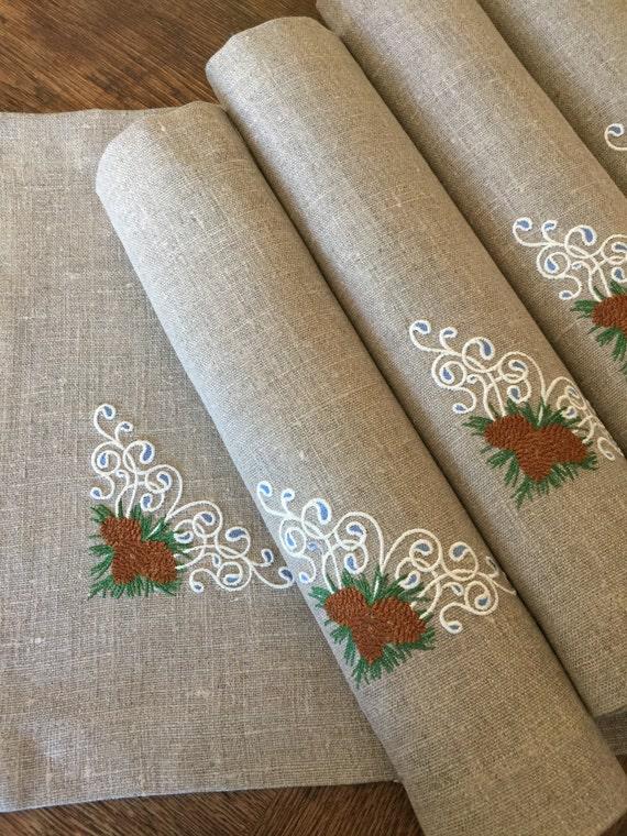 Juego de manteles individuales de lino de 6 bordados manteles