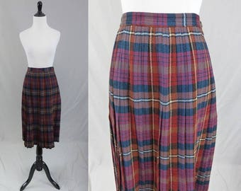 "50s Plaid Skirt - Brown Red Blue Wool - Pleated Full Skirt - Vintage 1950s - 24"" waist"