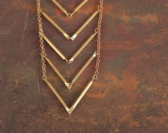 Descent - Brass Chevron Necklace Also Available in Silver by Prairieoats