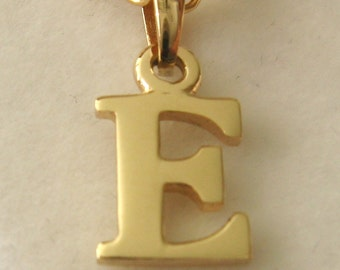 Genuine SOLID 9K 9ct YELLOW GOLD 3D Initial E Letter Pendant